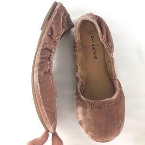 Lucky Brand Shoes - Lucky Brand Emmie Pink Velvet Ballet Flats Size 10